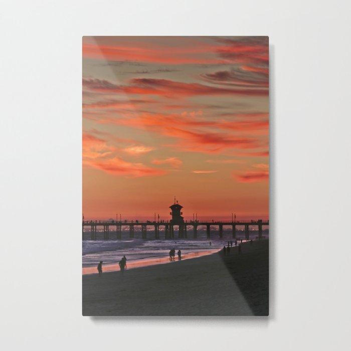 Huntington Beach Pier Sunset  7/18/14 Metal Print