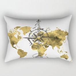 Gold World Map 2 Rectangular Pillow