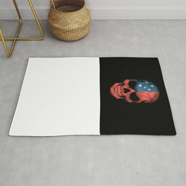 Dark Skull with Flag of Samoa Rug