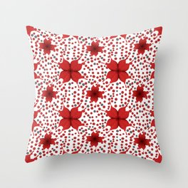 polka dots background with red flowers Throw Pillow