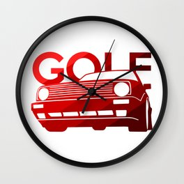 Volkswagen Golf - classic red - Wall Clock