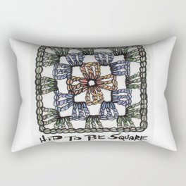 Hip to Be Square Crochet Art Yarn Humor Rectangular Pillow