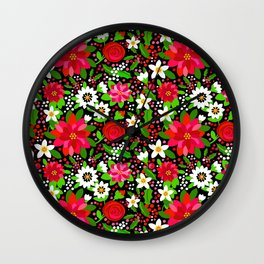 Christmas Flowers and Holly, Poinsettia, Roses and Lilies, holidays, girls floral gift, gift for mom Wall Clock
