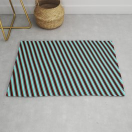 Dim Grey, Light Blue, Turquoise, Maroon, and Black Colored Lined/Striped Pattern Rug