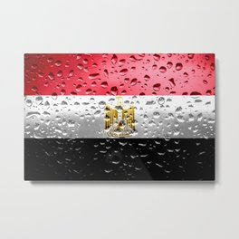 Flag of Egypt - Raindrops Metal Print