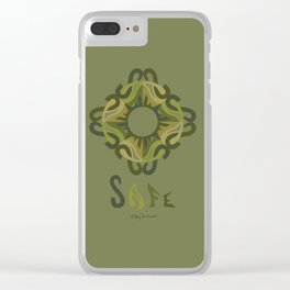"SAFE Mandala with ""SAFE"" - Olive Green Clear iPhone Case"