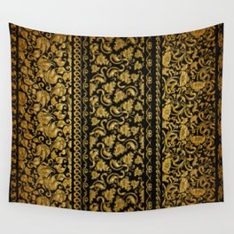 Gold black pattern Wall Tapestry