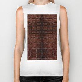 Dark brown snake leather cloth imitation Biker Tank
