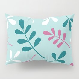Assorted Leaf Silhouettes Teals Pink White Pillow Sham