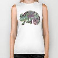 chameleon Biker Tanks featuring chameleon by Ruud van Koningsbrugge