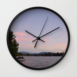 Lake Placid Mirror Lake Sunset Wall Clock