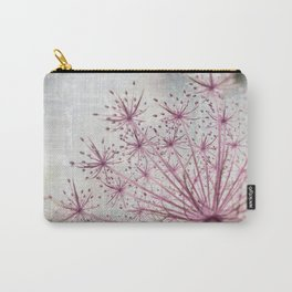 Vintage Raspberry Pink and Paris Gray Botanical Queen Anne's Lace Wildflower Carry-All Pouch