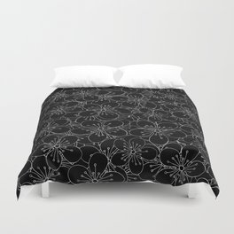 Cherry Blossom Black on White - In Memory of Mackenzie Duvet Cover