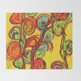 Round flowers, yellow fun Throw Blanket