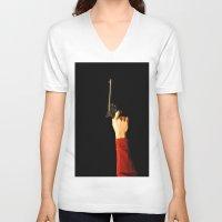 gun V-neck T-shirts featuring gun by Maleila