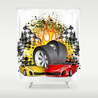 cars Shower Curtains featuring Cars by ismailburc