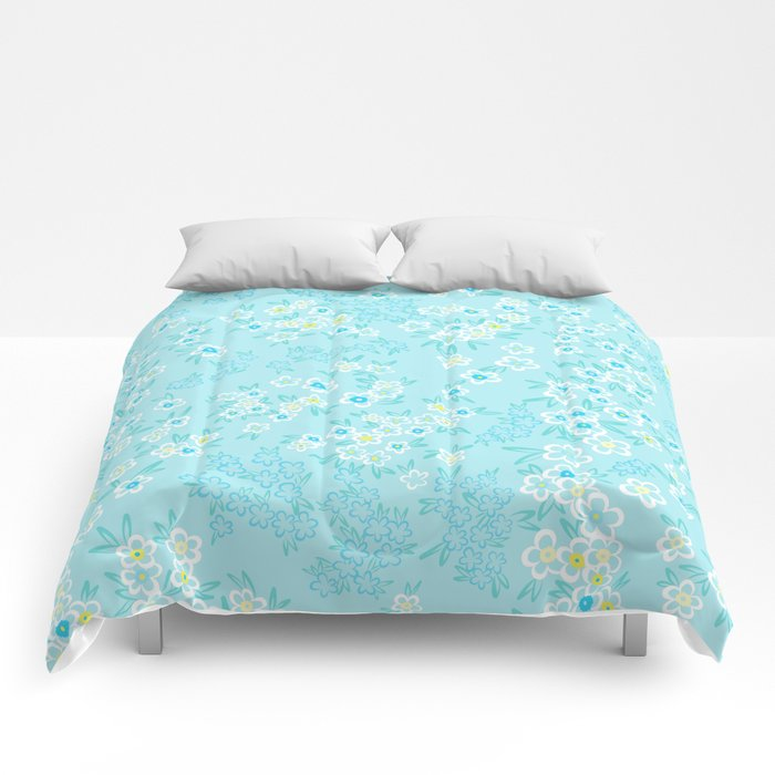Forget Me Knot - Little Flowers on aqua Comforters