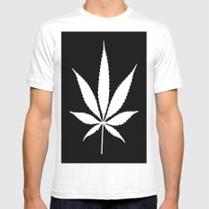 Weed High Times White Mens Fitted Tee MEDIUM