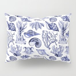 Vintage Nautical Illustrations in Blue Ink Pillow Sham