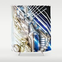 sci fi Shower Curtains featuring Sci-Fi Series 1 by eos vector
