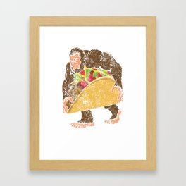 """Bigfoot With A Taco Funny Distressed Cinco De Mayo T-Shirt "" Framed Art Print"
