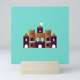 Sand Castle // Geometric Minimalist Illustration Mini Art Print