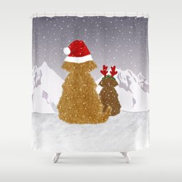 Cute Dogs Holiday Design Shower Curtain