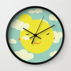 Miss Sunshine in clouds Wall Clock