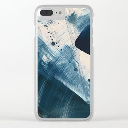 Against the Current [2]: A bold, minimal abstract acrylic piece in blue, white and gold Clear iPhone Case