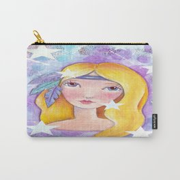 Whimiscal Girl with Feathers Updated Carry-All Pouch