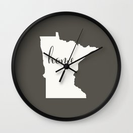 Minnesota is Home - White on Charcoal Wall Clock