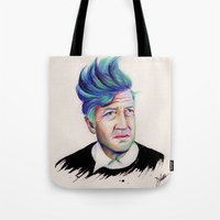 david lynch Tote Bags featuring David Lynch by Coco Dávez