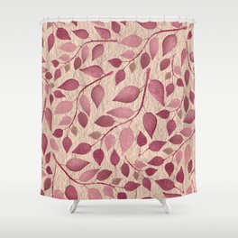 Berry Pink Leaves On Brushed Gold Shower Curtain