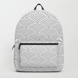 Japanese Waves (White & Gray Pattern) Backpack