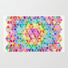Rainbow Honeycomb with Stars Rug
