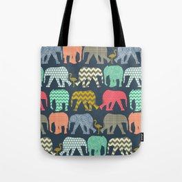 baby elephants and flamingos Tote Bag