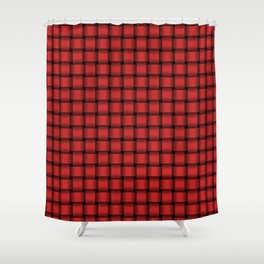 Small Firebrick Red Weave Shower Curtain
