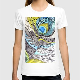 Peacock feather illustration wall art T-shirt