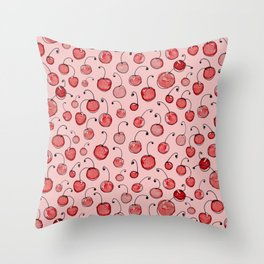 Cherries on pink Throw Pillow