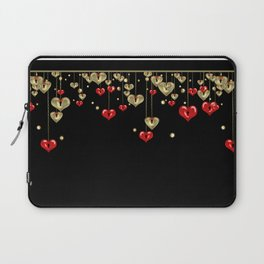 Beautiful glitter shine hearts on black Valentines Day greeting Laptop Sleeve