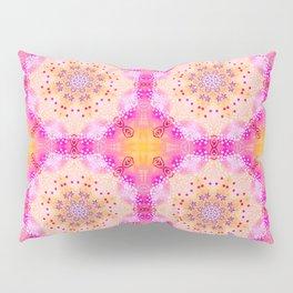 Doily Mandala Kaleidoscope Pattern in Bight Pink and Yellow Pillow Sham