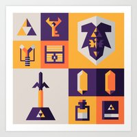 legend of zelda Art Prints featuring Legend of Zelda Items by Ann Van Haeken