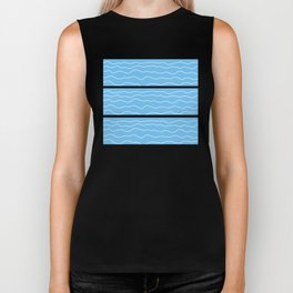 Turquoise with White Squiggly Lines Biker Tank