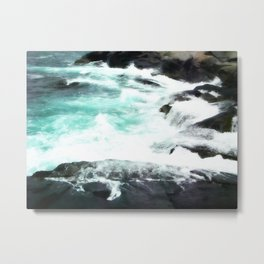 Aqua on the Rocks Metal Print
