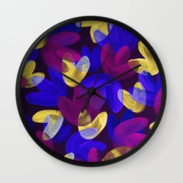 Vibrant Acrylic Painting Layered Tulips Floral Pattern Multi Colors Purple Neon Blue Yellow Party Vibe Wall Clock