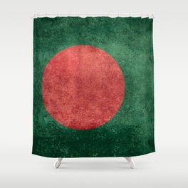 Flag of Bangladesh, Vintage Retro style Shower Curtain