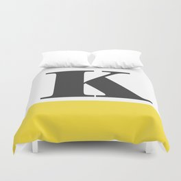 Monogram Letter K-Pantone-Buttercup Duvet Cover