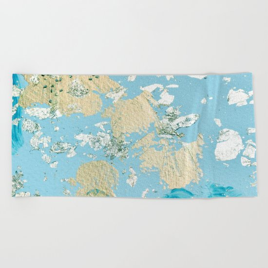 Gold Abstract Modern Painting Beach Towel