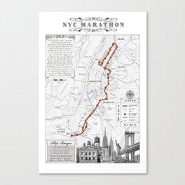 New York City Black & White {marathon course} map 26.2 Canvas Print