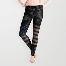 Night Hybrid Patriotic Flag Camo Leggings